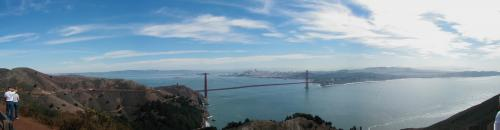Panorama of the bridge from the Marin headlands
