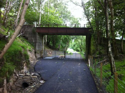 A view of the bridge in 2016 showing the new tarmacked path going under it.