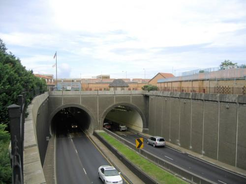 Westbound entrance to Wallace Tunnel