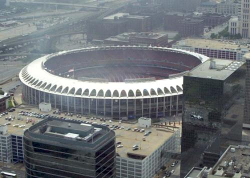 View of Bush Stadium from the Gateway Arch.