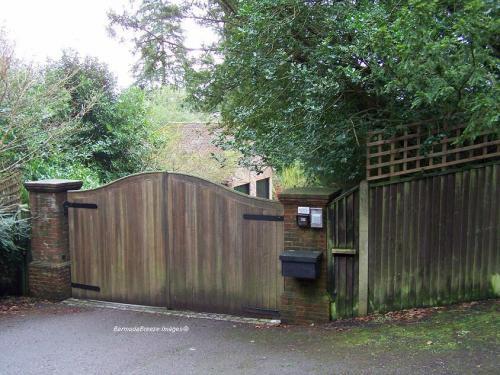 Front gates to Erics's Hurtwood Edge Estate