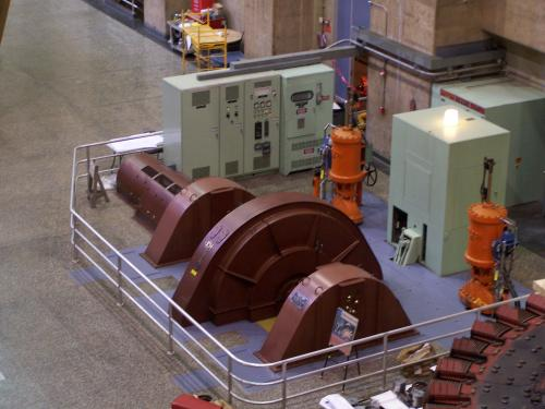 Auxiliary turbine used to power the Hoover Dam power plant
