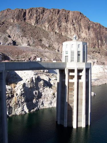 California-side water intake tower at Hoover Dam