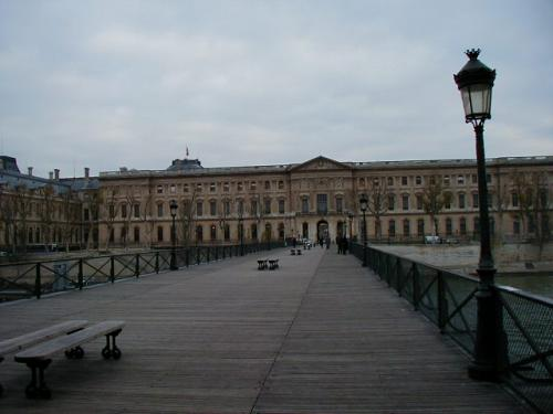 Crossing the Pont des Arts from the left bank.