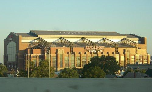 Lucas Oil Stadium seen from I-70 six days before it