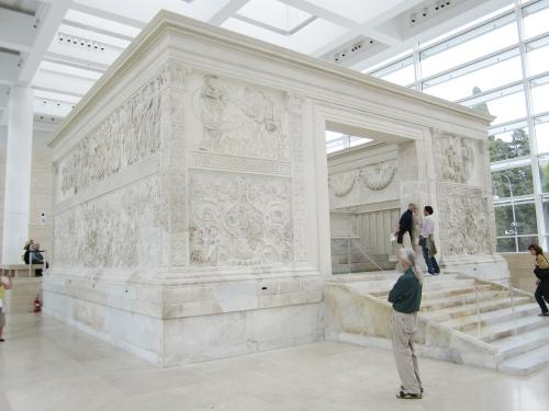 My dad taking in the Ara Pacis