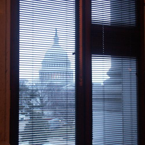 Capitol Building through a Window of the Library of Congress, January 2006