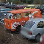 Orange VW T2 van