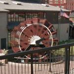 Old paddle wheel on display