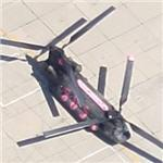 Boeing CH-47D Chinook with pink highlights (Google Maps)