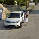 White car and white girl