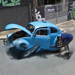 Changing the tire on the VW Beetle (StreetView)