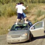 Google driver on top of the Google car