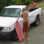 Guy with a body board (StreetView)
