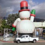 Large inflatable snowman