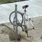 Bicycle without wheels (StreetView)