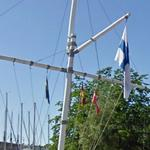 Nautical flagpole with flag of Finland