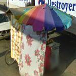 Rainbow pastry cart