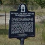 Birthplace for Equal Suffrage for Women in Florida Marker
