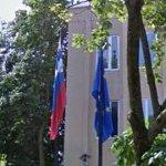 Flags of Slovenia & European Union (StreetView)