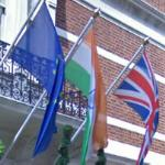 Flags of the EU, India, and the UK