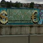 Dollar and Euro graffiti