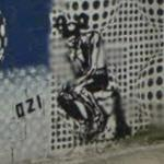 Rodin's 'The Thinker' in graffiti (StreetView)