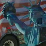 The Statue of Liberty on a bus