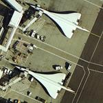 Concordes parked at Heathrow Terminal 4 (Google Maps)