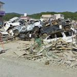 Hundreds of Car Wrecks after the Japan Tsunami in 11 March 2011.