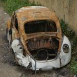 Burned-out VW Beetle (StreetView)