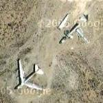 Two abandoned B-52s in the desert (Google Maps)