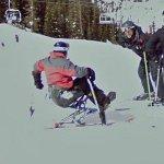 Skier on a mono-ski