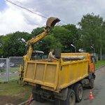 Backhoe at work (StreetView)