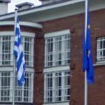 Greece and European Union flags