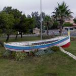 Boat in roundabout