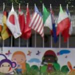 Flags and mural