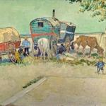 'Les roulottes, campement de bohémiens aux environs d'Arles' by Vincent Van Gogh