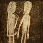 """Two People on a Black Background"" by Jean Dubuffet"