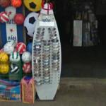 Surf board sunglasses display (StreetView)