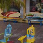 Surf board benches (StreetView)
