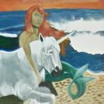 Mermaid & unicorn on the beach (StreetView)