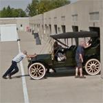 Antique car in the Indy Garage Area (StreetView)