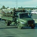 Truck transporting troops