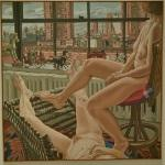 'Two Models in a Window with Cast Iron Toys' by Philip Pearlstein