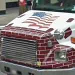 Patriotic dump truck