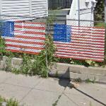 Patriotic chain-link fence