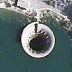 Huge glory hole in Globochica Lake (Google Maps)