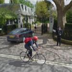 Armed Guard, Jaguar XF, and Bike Rider at Winfield House (StreetView)