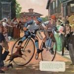 Penny farthing bicycle race (StreetView)